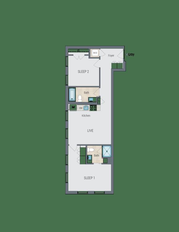 D1 Floor Plan at Reed Row, Washington