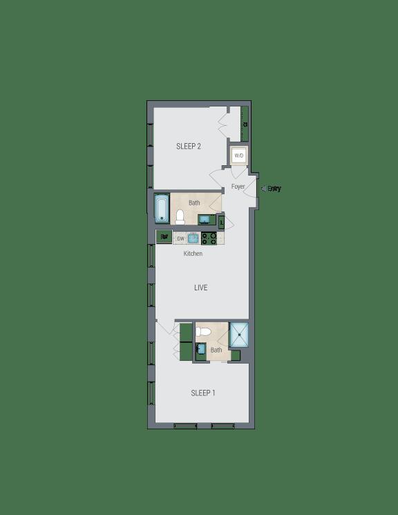 D1B Floor Plan at Reed Row, Washington, 20009