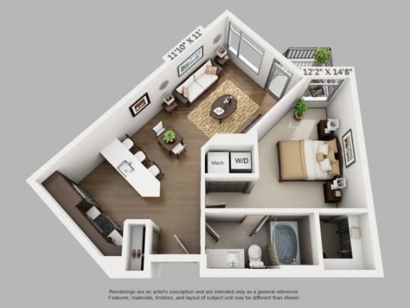 Floor Plan  1 Bed 1 Bath Arrive Floor Plan at ALARA Union Station Apartment Homes, Denver, CO