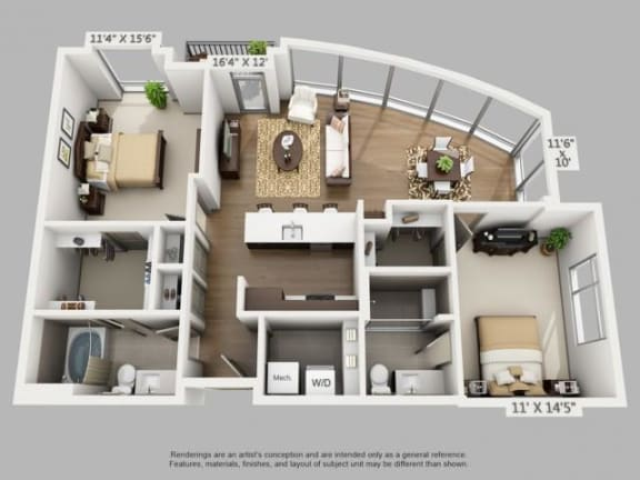 Floor Plan  2 Bed 2 Bath Explore Floor Plan at ALARA Union Station Apartment Homes, Denver, CO