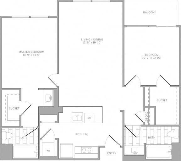 Floor Plan  B3 Floor Plan at AVE Emeryville at Bay Street, California, 94608