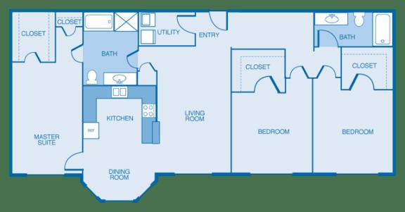 Floor Plan  East-Haven Floor Plan at Estates at Hollister Apartments, Houston, Texas