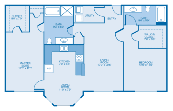 South-Haven Floor Plan at Estates at Hollister Apartments, Houston, 77040