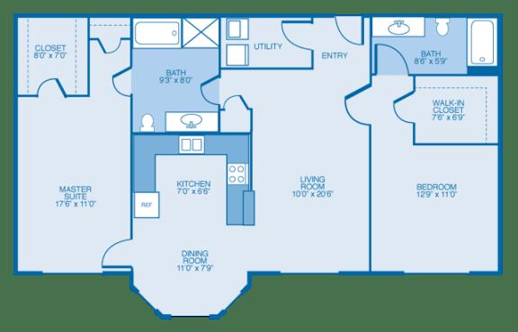 Floor Plan  South-Haven Floor Plan at Estates at Hollister Apartments, Houston, 77040