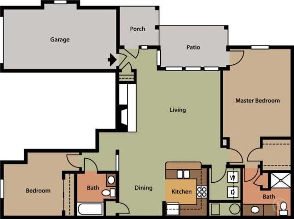 Floor Plan  Two Bedroom (B1)
