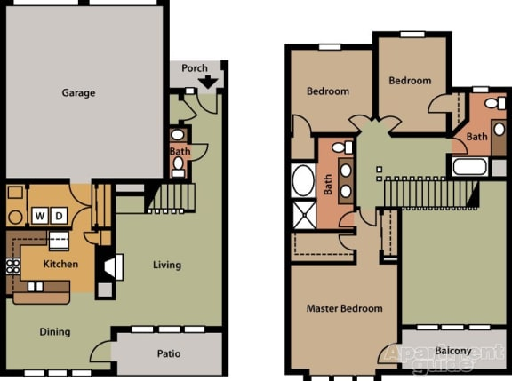 Floor Plan  Three Bedroom, Two and a Half Bath with Two Car Attached Garage, opens a dialog