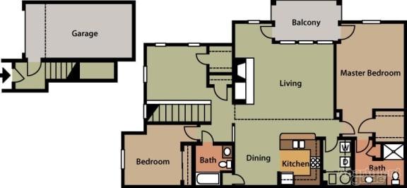 Floor Plan  Two Bedroom with Den, opens a dialog