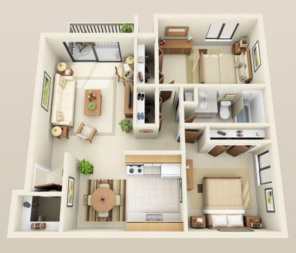 Floor Plan  Two Bedroom Apartment at Eastwood Village Apartments, Clinton Township, MI 48035