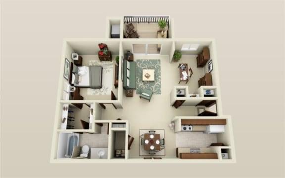 Floor Plan  One Bedroom One Bath Den Floor Plan at Three Oaks Apartments in Troy, Michigan