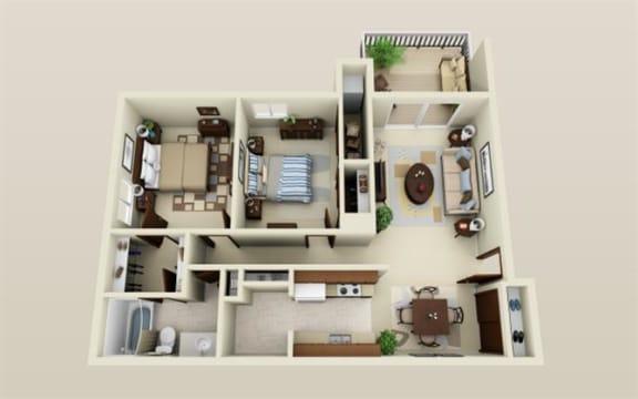 Floor Plan  Two Bedroom One Bath Floor Plan at Three Oaks Apartments in Troy, MI 48098