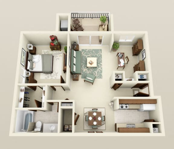 Floor Plan  One Bedroom Apartment Floor Planat Three Oaks Apartments in Troy, Michigan
