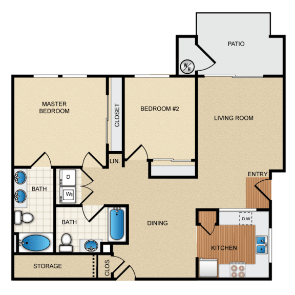 Levante 2 Bedroom 2 Bathroom Floorplan at Santa Rosa Apartment Homes, Wildomar, CA, 92595