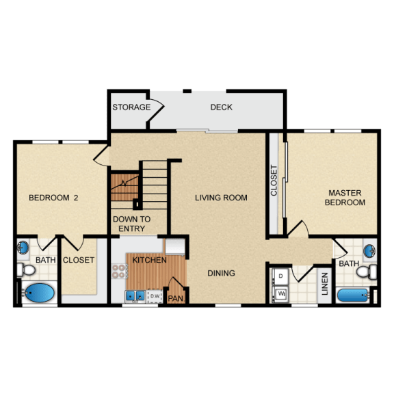 Barcelona 2 Bedroom 2 Bathroom Floorplan at Santa Rosa Apartment Homes, Wildomar, CA, 92595