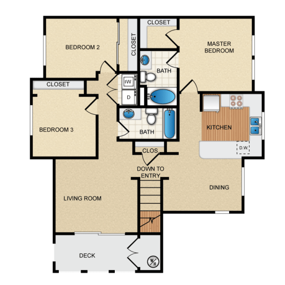 Sevilla 3 Bedroom 2 Bathroom Floorplan at Santa Rosa Apartment Homes, Wildomar, CA, 92595