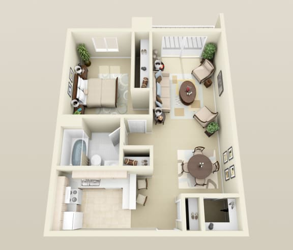 One Bedroom Floorplan at Lakeside Village Apartments, Michigan