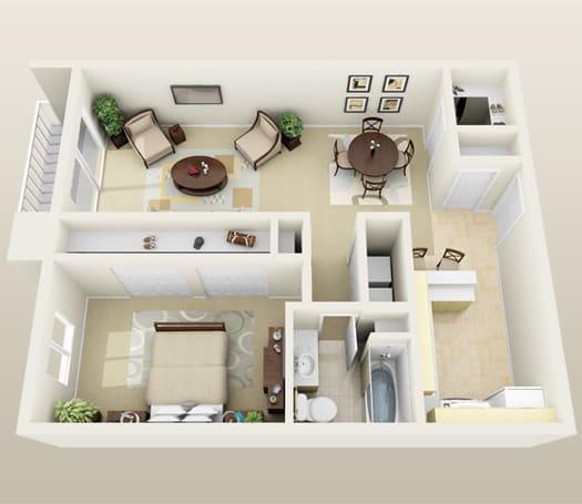 Floor Plan  One Bedroom Floorplan at Lakeside Village Apartments, MI