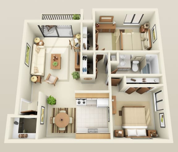 Floor plan at Lakeside Village Apartments, Clinton Township