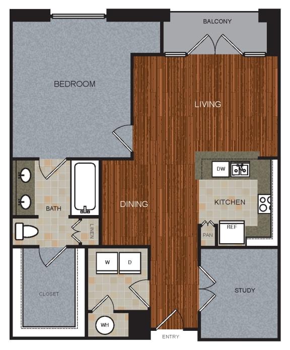 A8D Floor Plan at Berkshire Riverview, Austin, TX, 78741