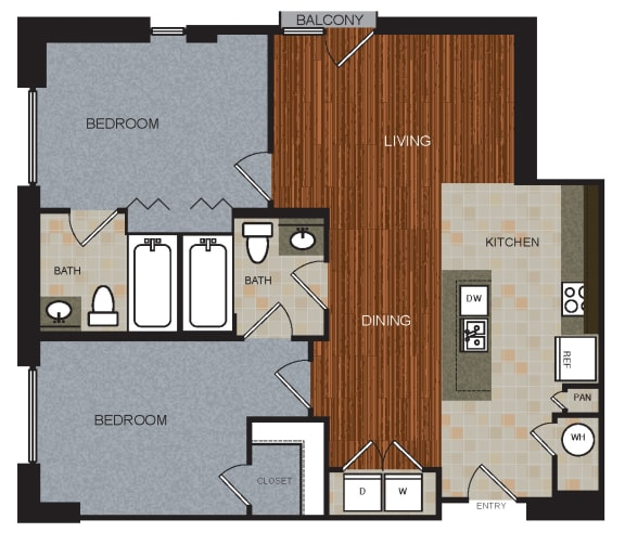 D1 Floor Plan at Berkshire Riverview, Austin, 78741