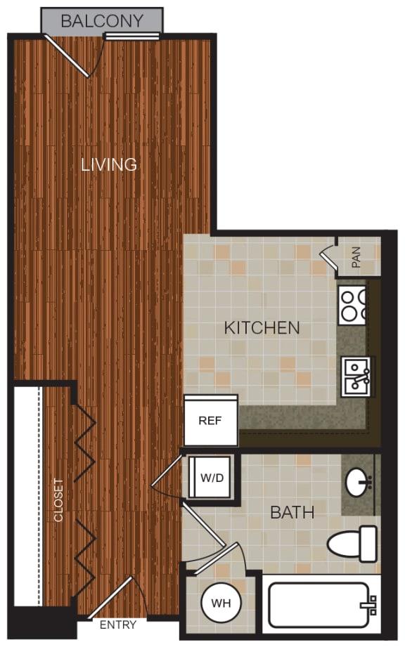 Studio 5 Floor Plan at Berkshire Riverview, Texas, 78741