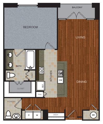 B1 Floor Plan at Berkshire Riverview, Texas, 78741