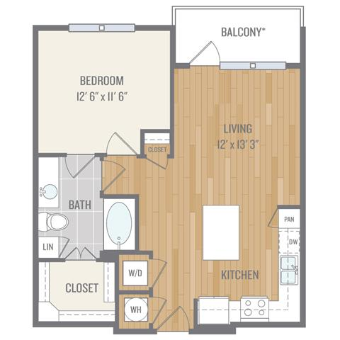 Floor Plan  One-Bedroom Floor Plan at Berkshire Auburn, Dallas, 75248