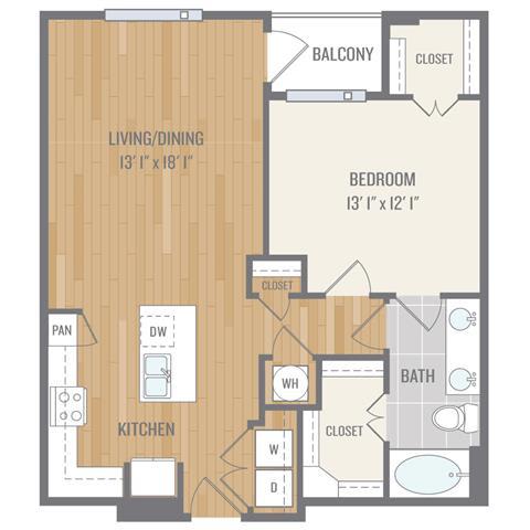 Floor Plan  One-Bedroom Floor Plan at Berkshire Auburn, Dallas