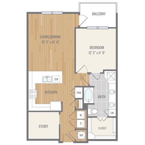 Floor Plan  One-Bedroom Floor Plan at Berkshire Auburn, Texas