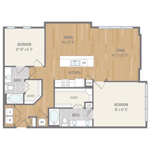 Floor Plan  Two-Bedroom Floor Plan at Berkshire Auburn, Dallas, TX