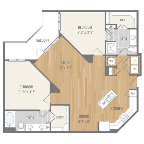 Floor Plan  Two-Bedroom Floor Plan at Berkshire Auburn, Dallas, Texas