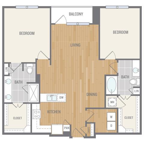 Floor Plan  Two-Bedroom Floor Plan at Berkshire Auburn, Dallas