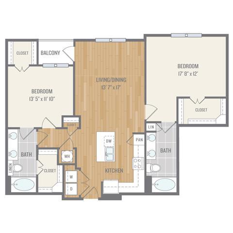 Floor Plan  Two-Bedroom Floor Plan at Berkshire Auburn, Texas