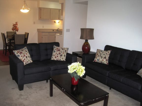 Living Room with couches in short-term furnished apartments available at Dover Hills Apartments in Kalamazoo, Michigan