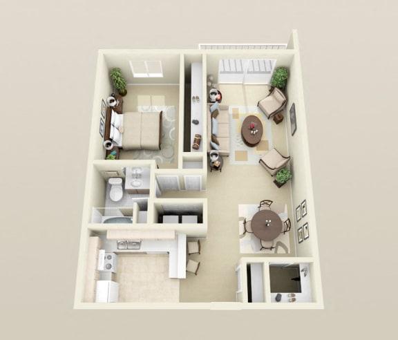One Bedroom One Bath, Washer/Dryer, Breakfast Bar, 900 sq. ft. Floor Plan at Dover Hills Apartments in Kalamazoo, MI