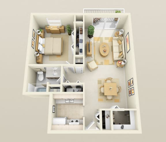 One Bedroom One Bath, Washer/Dryer, Galley 850 sq. ft. Floor Plan at Dover Hills Apartments in Kalamazoo, Michigan