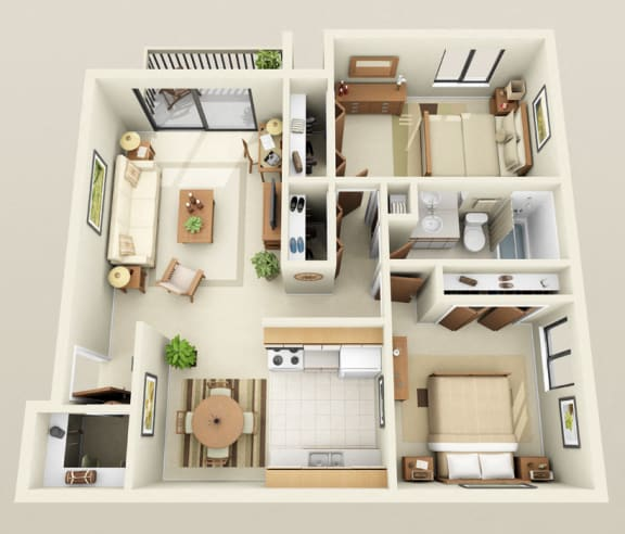 Two Bedrooms One Bath, 950 sq. ft. Floor Plan at Dover Hills Apartments in Kalamazoo, MI
