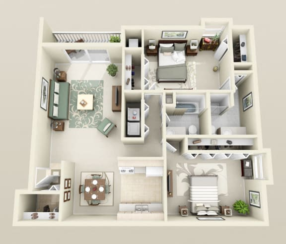 Two Bedrooms Two Baths, Washer/Dryer, 1150 sq. ft. Floor Plan at Dover Hills Apartments in Kalamazoo, MI