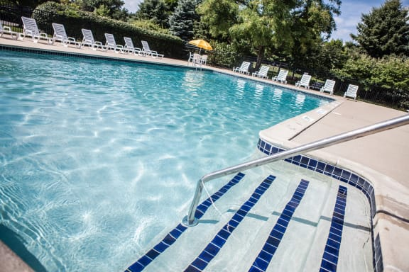 Heated Pool (open April through October) and Large Sundeck at Dover Hills Apartments in Kalamazoo 48185