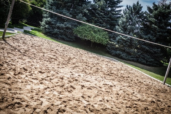 Sand Volleyball Court surrounded by trees at Dover Hills Apartments in Kalamazoo, MI