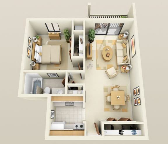 Floor Plan  One Bedroom One Bath Barrier Free Floorplan at Westwood Village Apartments, MI