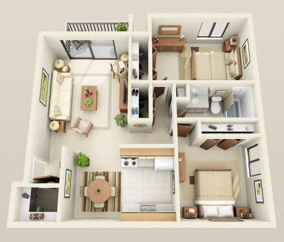 Floor Plan  Two Bedroom One Bath Barrier Free Floorplan at Westwood Village Apartments in Westland, MI