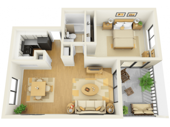 Bay Club 1 bedroom 740 sq ft floor plan with living, dining, kitchen, bedroom, bathroom, and balcony/patio