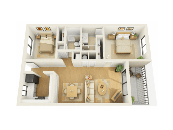 Bay Club 2 bedroom 1000 sq ft floor plan with kitchen, dining, living, 2 bedrooms, 2 bathrooms, closets, and patio/balcony