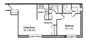 Floor Plan  1 Bedroom 1 Bath floor plan, 575 to 650 square feet at Settler Place Apartments