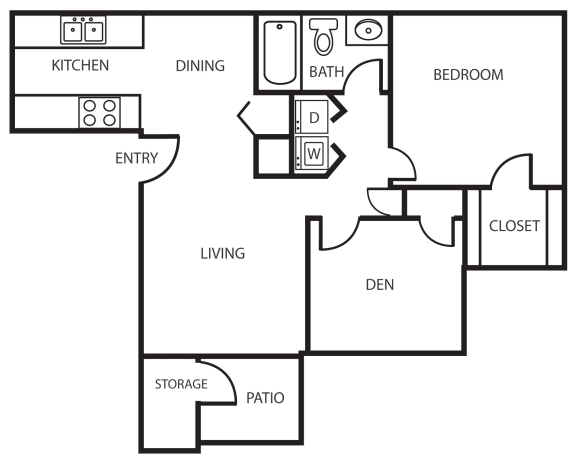 Enclave one bedroom apartment 2A with den 2D floor plan