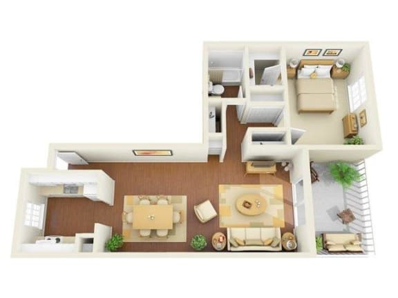 Legacy 1 bedroom 975 sq ft floor plan with kitchen, dining/living, 1 bathroom, closets, balcony/patio and storage
