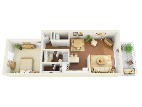Legacy 1 bedroom 850 sq ft floor plan with kitchen, dining/living, 1 bathroom, closets, balcony/patio and storage