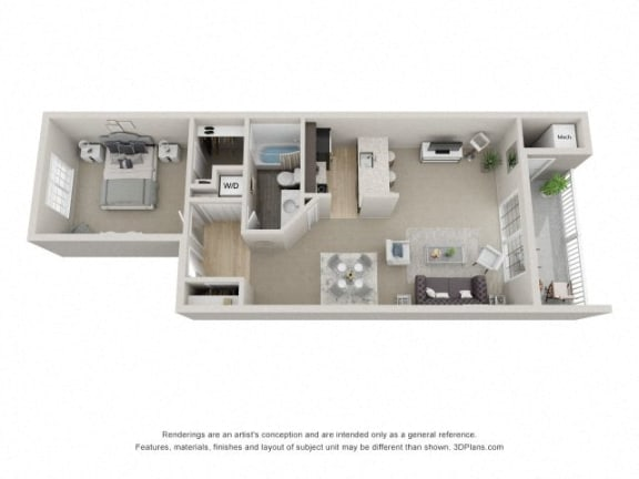 A1 3D Floor Plan at The Haven of Ann Arbor, Ann Arbor, MI