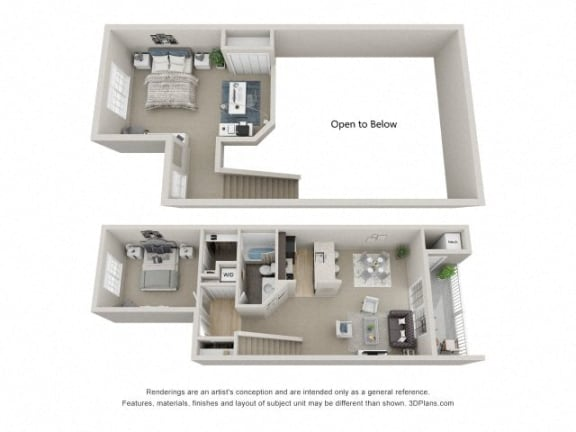 B1 Combined 3D Floor Plan at the Haven of Ann Arbor, MI, 48105