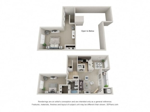 B2 Combined 3D Floor Plan at The Haven of Ann Arbor, Ann Arbor, MI